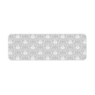 Elegant White and Gray Pattern. Damask. Return Address Label