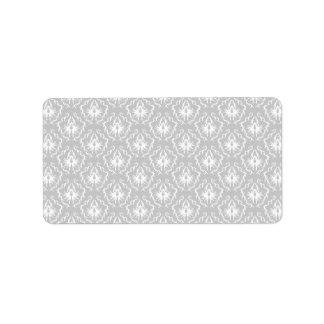 Elegant White and Gray Pattern. Damask. Address Label