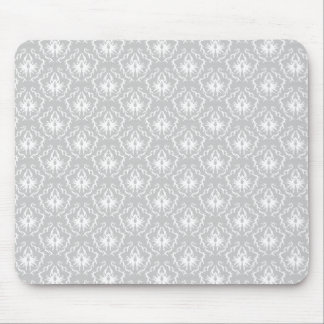 Elegant White and Gray Pattern. Damask. Mouse Pad