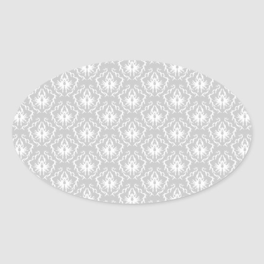 Elegant White and Gray Pattern. Damask. Oval Sticker