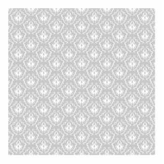Elegant White and Gray Pattern. Damask. Standing Photo Sculpture