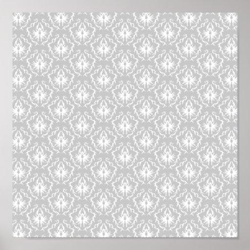 Elegant White and Gray Pattern. Damask. Poster
