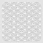 Elegant White and Gray Pattern. Damask. Square Stickers
