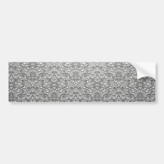 Elegant White and Grey damask pattern Bumper Sticker