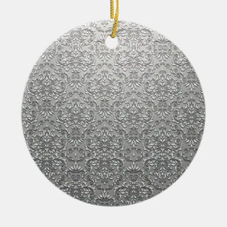 Elegant White and Grey damask pattern Ornament