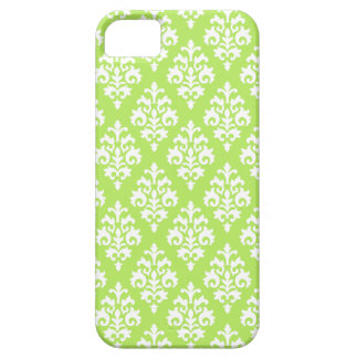Elegant White and Lime Green Damask iPhone SE/5/5s Case