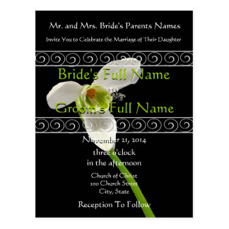 Elegant White and Lime  Wedding Invitation Post Card