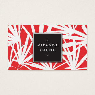 Elegant White and Red Palm Fronds Business Card
