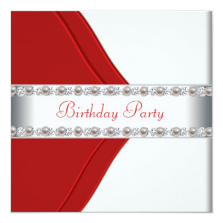 Elegant White and Red Womans Birthday Party Card