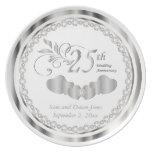 Elegant White and Silver Anniversary Keepsake Dinner Plate