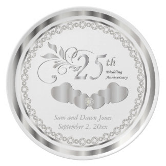 Elegant White and Silver Anniversary Keepsake Dinner Plate