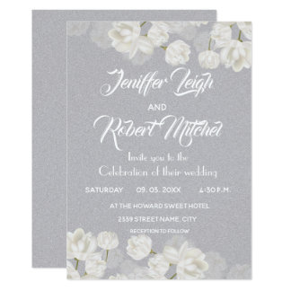 Elegant white and silver floral wedding card