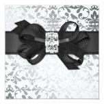 """Elegant White and Silver Invite with Diamond Bow 5.25"""" Square Invitation Card"""