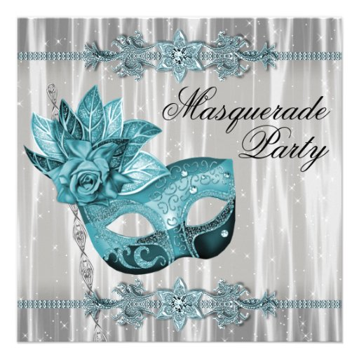 Elegant White and Teal Blue Masquerade Party Custom Invitations