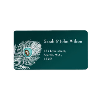 Elegant white and teal peacock address label