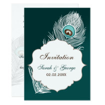 Elegant white and teal peacock  invitations