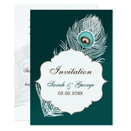 Teal Peacock Wedding Invitations