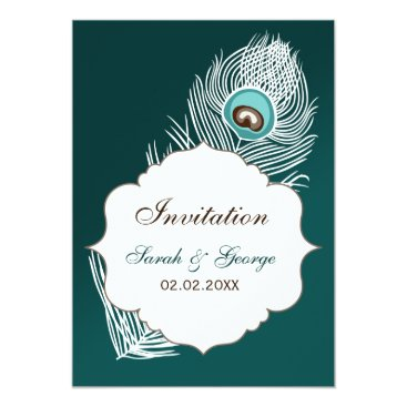 Elegant white and teal peacock invites