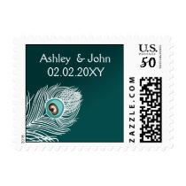 Elegant white and teal peacock postage