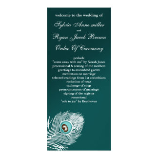 Elegant white and teal peacock programs customized rack card