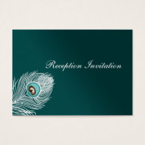 Elegant white and teal peacock Reception Cards