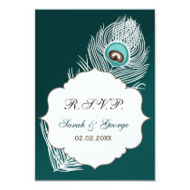 Elegant white and teal peacock rsvp 3.5 x 5 card