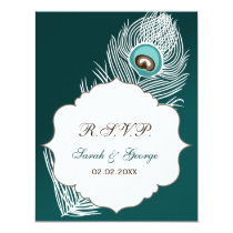 Elegant white and teal peacock rsvp card