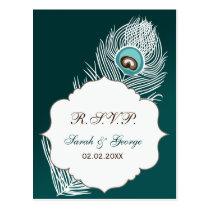 Elegant white and teal peacock rsvp postcard