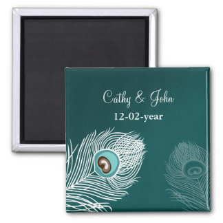 Elegant white and teal peacock save the date magnet