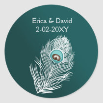 Elegant white and teal peacock seals