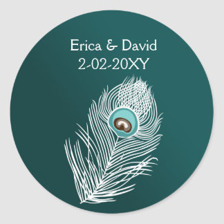 Elegant white and teal peacock seals classic round sticker
