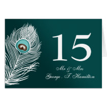 Elegant white and teal peacock table numbers card