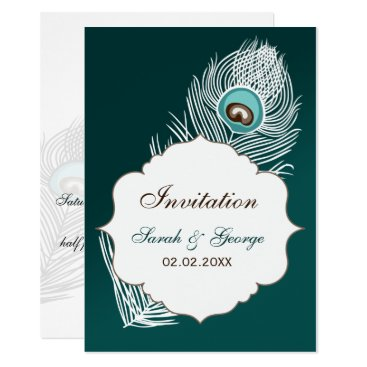 Elegant white and teal peacock wedding card