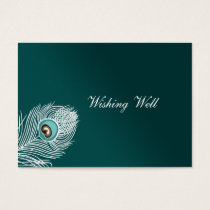 Elegant white and teal peacock wishing well cards