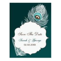 Elegant white and teal  save the date announcement postcard