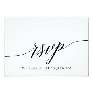 Elegant White & Black Calligraphy Menu Choice RSVP Invitation