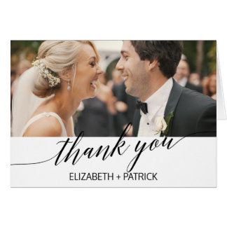 Elegant White & Black Calligraphy Photo Thank You Card
