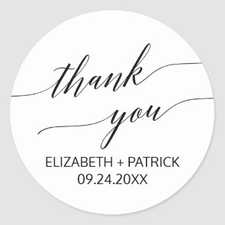 Elegant White & Black Calligraphy Thank You Favor Classic Round Sticker