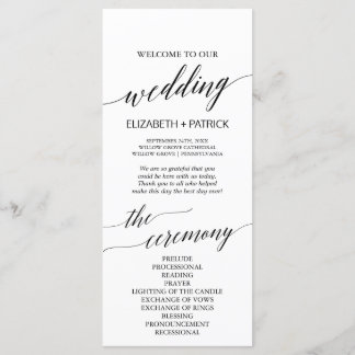 Elegant White & Black Calligraphy Wedding Program