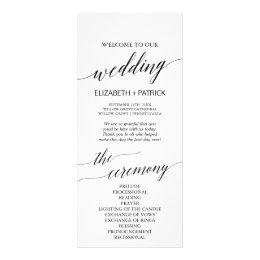 Elegant White & Black Calligraphy Wedding Program