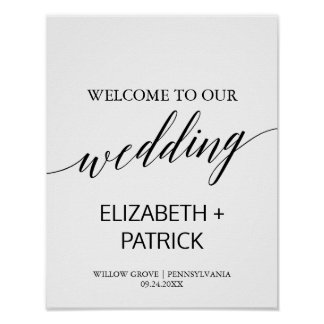 Elegant White & Black Calligraphy Wedding Welcome Poster