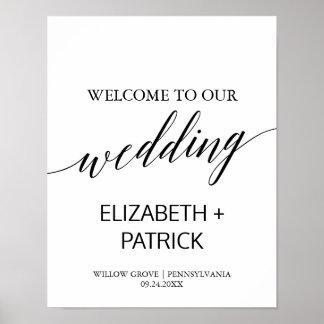 Elegant White & Black Calligraphy Wedding Welcome Poster
