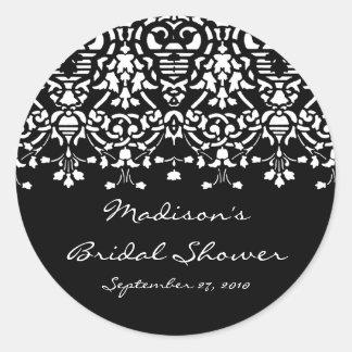 Elegant White & Black Damask Bridal Shower Sticker