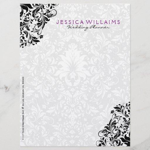 Elegant White & Black Floral Lace 2 Letterhead