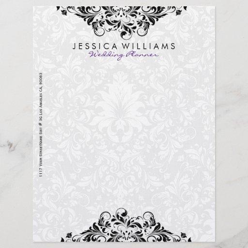 Elegant White & Black Floral Lace Letterhead