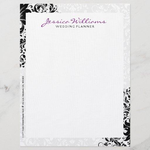 Elegant White & Black Floral Lace Purple Accents Letterhead
