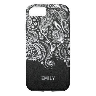Elegant White & Black Floral Paisley Lace 2 iPhone 8/7 Case