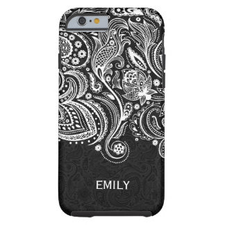 Elegant White & Black Floral Paisley Lace 2 Tough iPhone 6 Case