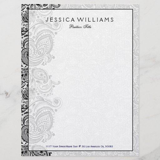 Elegant White & Black Floral Paisley Lace Letterhead