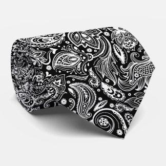 Elegant White & Black Floral Paisley Pattern Tie